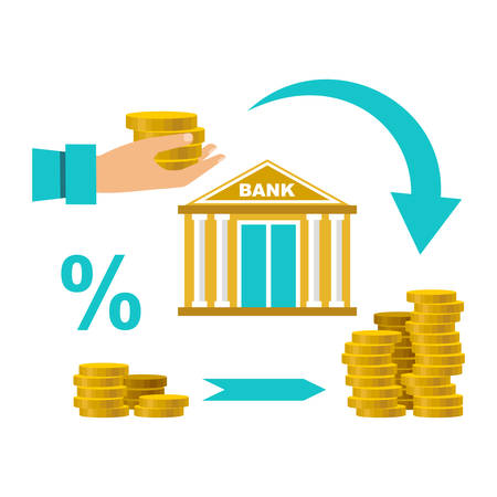 Cash deposit to the bank. Profit increase. Percentage of contribution. Vector illustration
