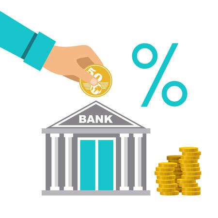 Cash deposit to the bank. Profit increase. Percentage of contribution. Vector illustration 向量圖像