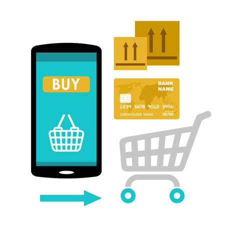 Icon-Käufe im Online-Shop. Internet-Markt. Web bezahlen. Vektor-Illustration