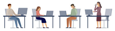 People in the office. Managers work. Vector illustration 矢量图像