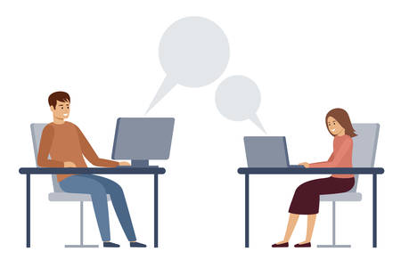 Man and woman are texting at work. Working correspondence. General chat. Vector flat illustration.