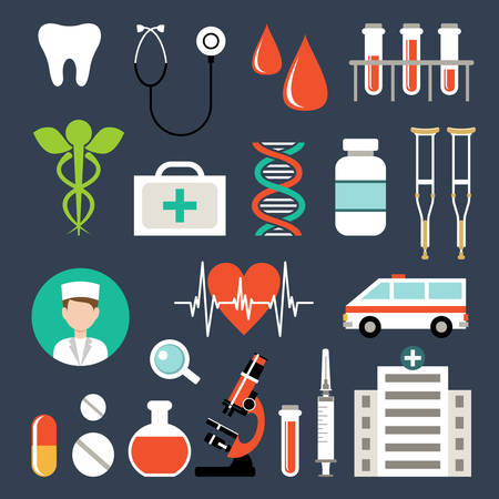 Set of medical icons. Analyzes, examinations, medical devices. Vector illustration