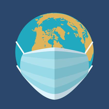 Earth in a gauze medical bandage. Epidemic. Virus. Vector flat illustration.