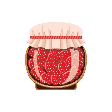 Jar of strawberry jam on a white background. Vector illustration