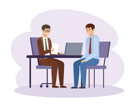 Job interview. HR manager. Office work. Vector flat illustration.