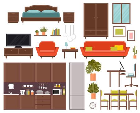 Furniture set. Bedroom, kitchen, dining room. Vector flat illustration.