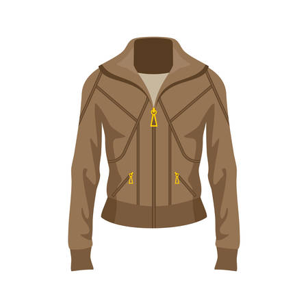 Brown jacket on a white background. Vector flat illustration.