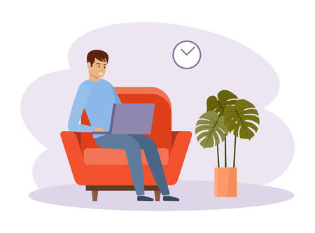 Freelancer work from home. Online business.  Distance job. Vector flat illustration. Çizim