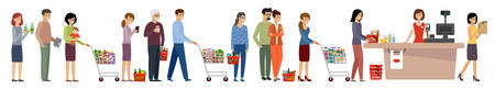Grocery store queue. People with shopping carts and basket with food. Vector flat illustration