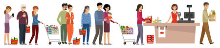 Grocery store queue. People with shopping carts and basket with food. Vector flat illustration Vecteurs