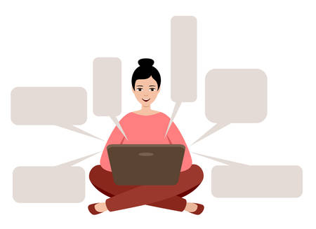 Female freelancer is working on a laptop. Distance job. Empty talk form. Vector illuatration