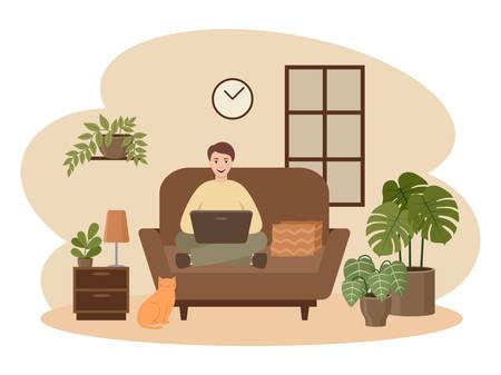 Male freelancer is working on a laptop. Distance job.Hugge. Vector flat illustration.