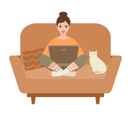 Woman freelancer with a laptop sitting on a sofa. Vector illustration