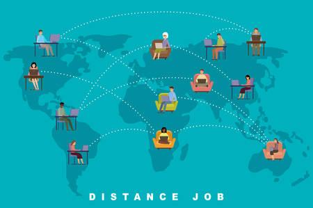 Distance job concept. Online business. Freelance. People. Vector flat illustration.