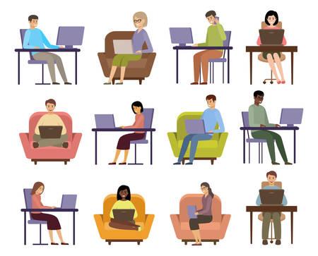People freelancers work. Online business. Distance job. Vector flat illustration.