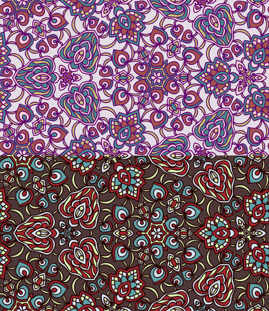 Set of two colorful seamless patterns. Vector illustration. EPS-8.