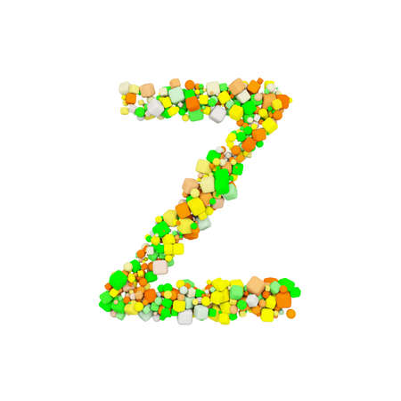 Alphabet letter Z uppercase. Funny font made of orange, green and yellow shape cube. 3D render isolated on white background. Typographic symbol from geometric figure.