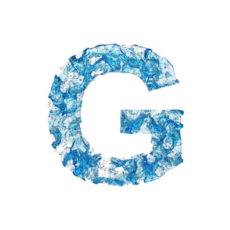 Alphabet letter G uppercase. Liquid font made of blue transparent water. 3D render isolated on white background. Typographic symbol from splash fluid aqua.