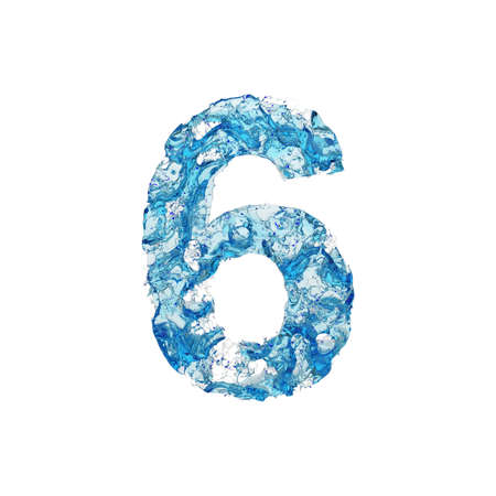 Alphabet number 6. Liquid font made of blue transparent water. 3D render isolated on white background. Typographic symbol from splash fluid aqua.