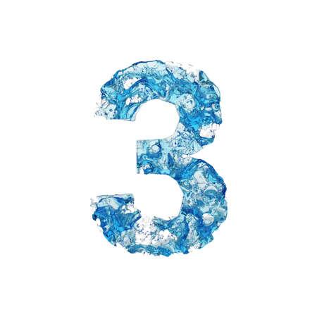 Alfabeto numero 3. Carattere liquido in acqua blu trasparente. Rendering 3D isolato su sfondo bianco. Simbolo tipografico da splash fluido aqua.