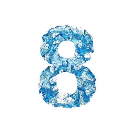 Alfabeto numero 8. Carattere liquido costituito da acqua blu trasparente. Rendering 3D isolato su sfondo bianco. Simbolo tipografico da splash fluido aqua.