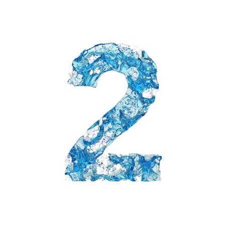 Alfabeto numero 2. Carattere liquido costituito da acqua blu trasparente. Rendering 3D isolato su sfondo bianco. Simbolo tipografico da splash fluido aqua.