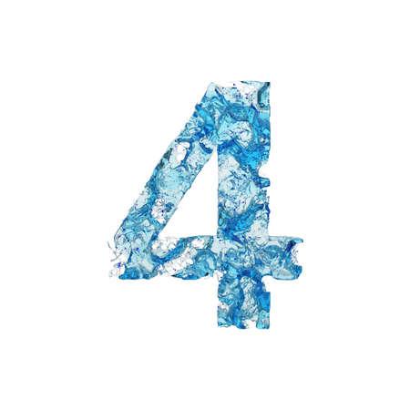 Alfabeto numero 4. Carattere liquido di acqua blu trasparente. Rendering 3D isolato su sfondo bianco. Simbolo tipografico da splash fluido aqua.