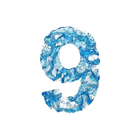Alfabeto numero 9. Carattere liquido è costituito da acqua blu trasparente. Rendering 3D isolato su sfondo bianco. Simbolo tipografico da splash fluido aqua.