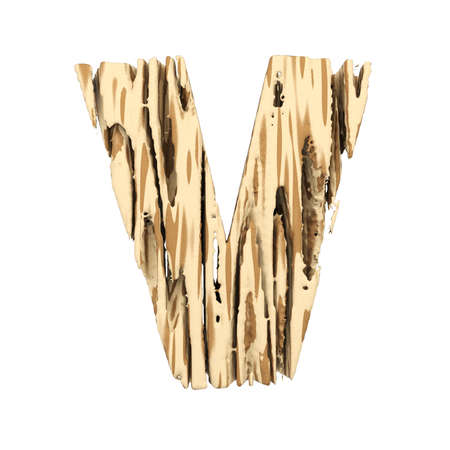 Alphabet letter V uppercase. Wood font made of brown and yellow rough pine. 3D render isolated on white background. Typographic symbol from wooden planks. Stock Photo