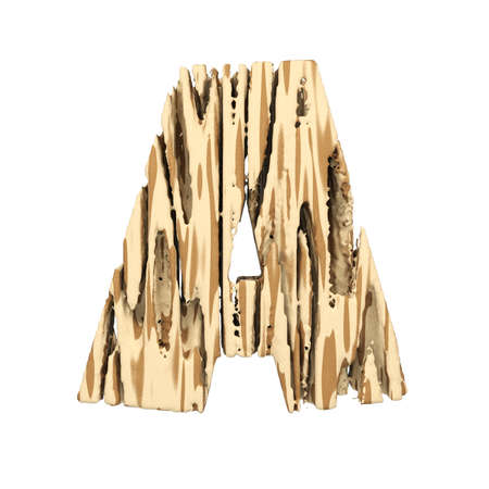 Alphabet letter A uppercase. Wood font made of brown and yellow rough pine. 3D render isolated on white background. Typographic symbol from wooden planks.