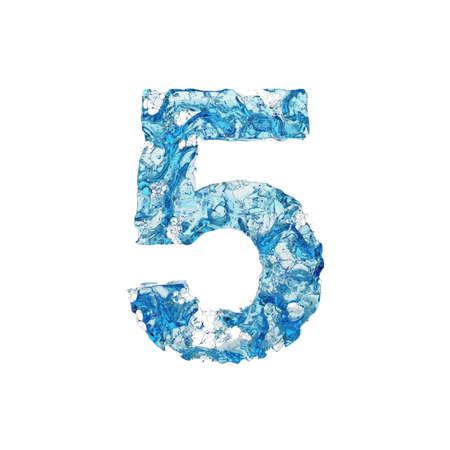 Alfabeto numero 5. Carattere liquido di acqua blu trasparente. Rendering 3D isolato su sfondo bianco. Simbolo tipografico da splash fluido aqua.