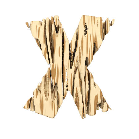 Alphabet letter X uppercase. Wood font made of brown and yellow rough pine. 3D render isolated on white background. Typographic symbol from wooden planks.