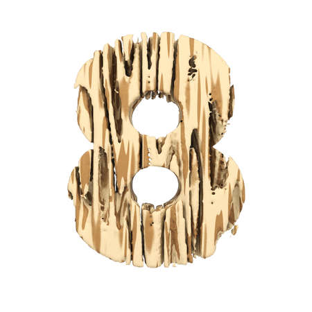 Alphabet number 8. Wood font made of brown and yellow rough pine. 3D render isolated on white background. Typographic symbol from wooden planks.