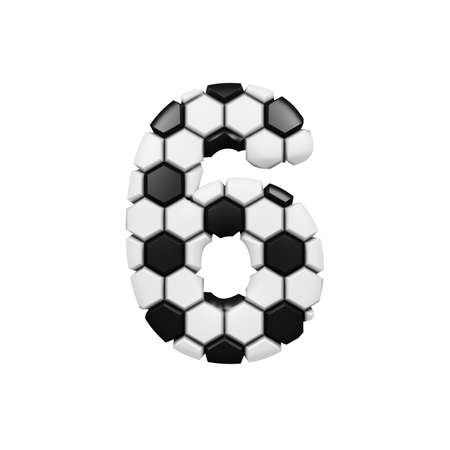 Alphabet number 6. Soccer font made of football texture. 3D render isolated on white background. Typographic symbol from geometric figure.