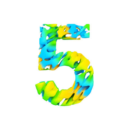 Alphabet number 5. Liquid font made of blue, green and yellow splash paint. 3D render isolated on white background. Typographic symbol from flowing color. Stock Photo