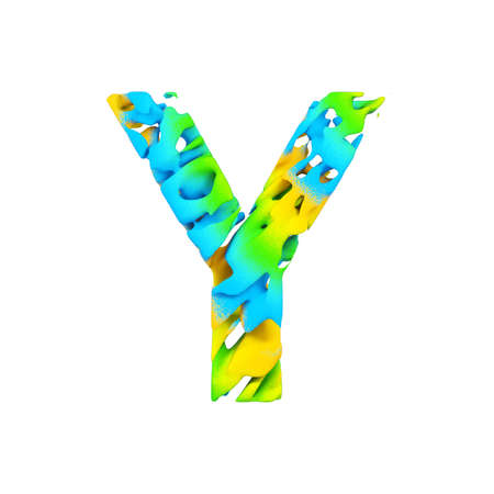 Alphabet letter Y uppercase. Liquid font made of blue, green and yellow splash paint. 3D render isolated on white background. Typographic symbol from flowing color.