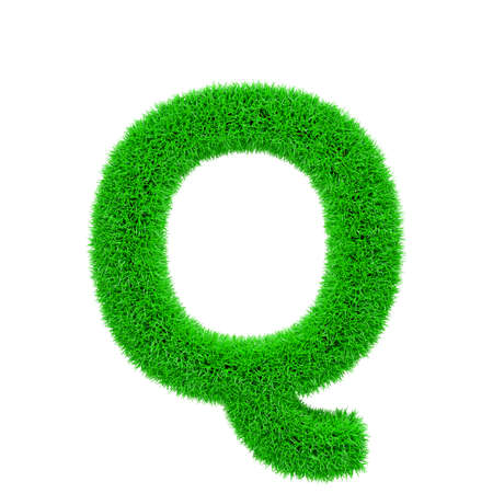 Alphabet letter Q uppercase. Grassy font made of fresh green grass. 3D render isolated on white background. Typographic symbol from herbal lawn.