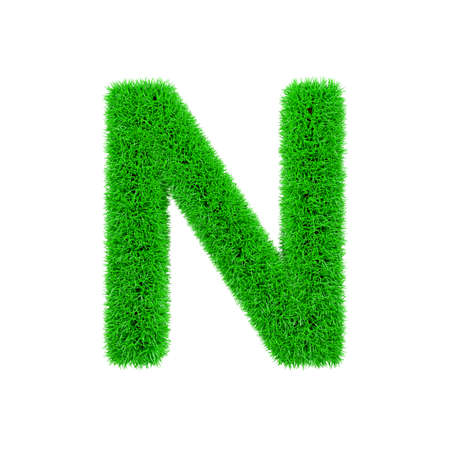 Alphabet letter N uppercase. Grassy font made of fresh green grass. 3D render isolated on white background. Typographic symbol from herbal lawn.