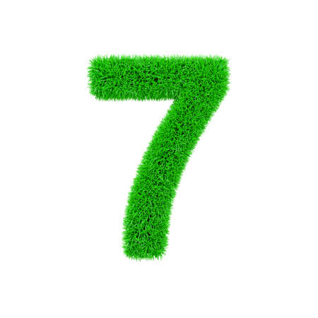 Alphabet number 7. Grassy font made of fresh green grass. 3D render isolated on white background. Typographic symbol from herbal lawn.