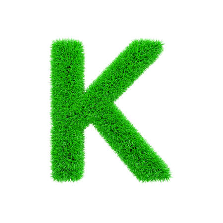 Alphabet letter K uppercase. Grassy font made of fresh green grass. 3D render isolated on white background. Typographic symbol from herbal lawn.