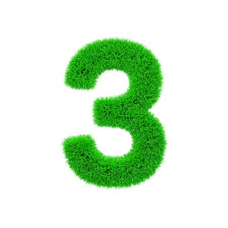 Alphabet number 3. Grassy font made of fresh green grass. 3D render isolated on white background. Typographic symbol from herbal lawn.