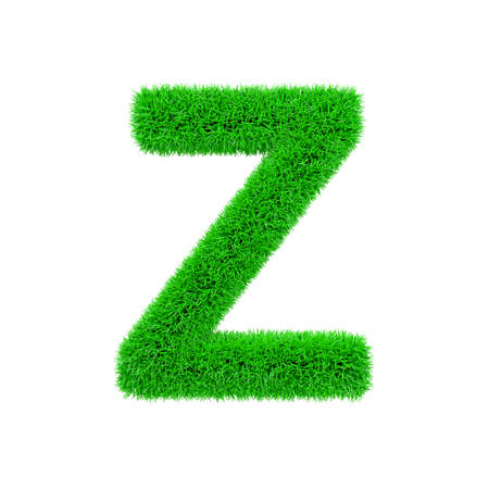 Alphabet letter Z uppercase. Grassy font made of fresh green grass. 3D render isolated on white background. Typographic symbol from herbal lawn.