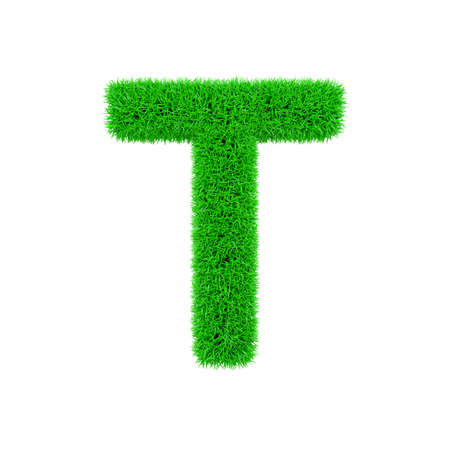 Alphabet letter T uppercase. Grassy font made of fresh green grass. 3D render isolated on white background. Typographic symbol from herbal lawn.