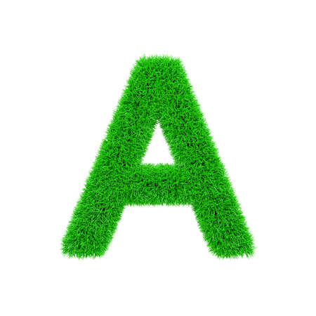 Alphabet letter A uppercase. Grassy font made of fresh green grass. 3D render isolated on white background. Typographic symbol from herbal lawn.
