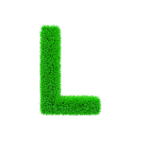 Alphabet letter L uppercase. Grassy font made of fresh green grass. 3D render isolated on white background. Typographic symbol from herbal lawn.