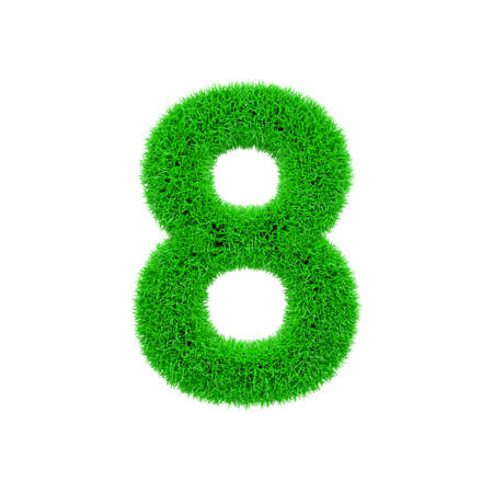Alphabet number 8. Grassy font made of fresh green grass. 3D render isolated on white background. Typographic symbol from herbal lawn.