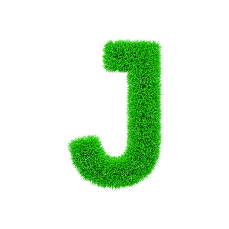 Alphabet letter J uppercase. Grassy font made of fresh green grass. 3D render isolated on white background. Typographic symbol from herbal lawn.