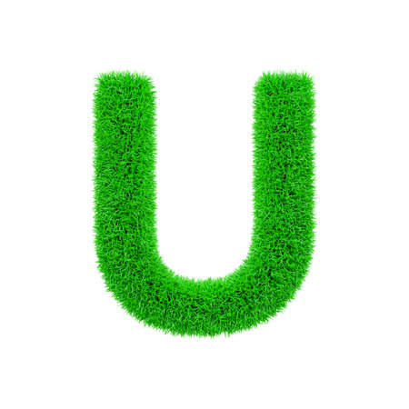 Alphabet letter U uppercase. Grassy font made of fresh green grass. 3D render isolated on white background. Typographic symbol from herbal lawn.