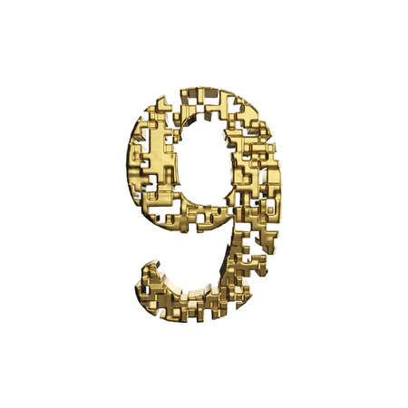 Alphabet number 9. Golden font made of yellow metallic shapes. 3D render isolated on white background. Typographic symbol from gold geometric figure.