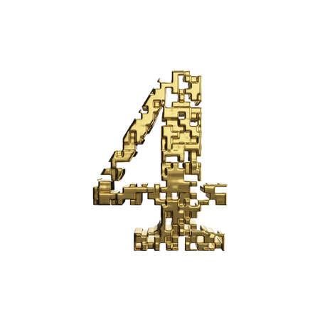 Alphabet number 4. Golden font made of yellow metallic shapes. 3D render isolated on white background. Typographic symbol from gold geometric figure.